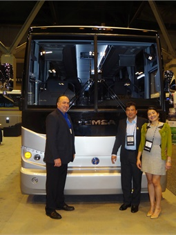 Randy Angell (Sr. Account Executive at CH Bus Sales); Omar Orozco (Owner of Professional Charter) and his daughter Celeste Orozco.