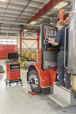 Hunter says quick alignment checks are a high-profit preventative maintenance sales tool. Hunter's system provides alignment readings on the entire truck at a glance.