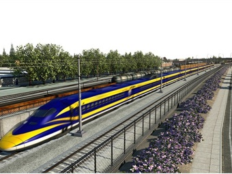 A rendering of the California High-Speed Rail sytem