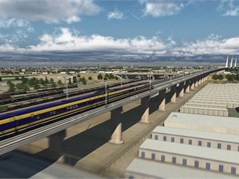 A rendering of the Bakersfield portion of the California High-Speed Rail project via the California High-Speed Rail Authority