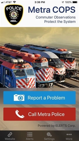 The app enables customers to send a description along with a photo and/or video of the issue being reported. Metra