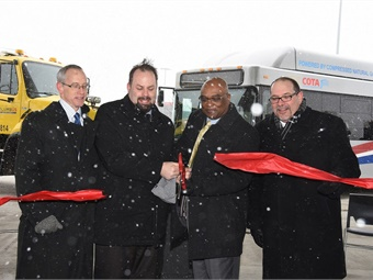 Left to right: Sam Spofforth – Executive Director, Clean Fuels Ohio; Emmanuel Remy – Councilmember, Columbus City Council; Emille Williams – Interim President/CEO, Central Ohio Transit Authority; and Joe Lombardi – Director of Finance and Management, City of Columbus.Jim Shively
