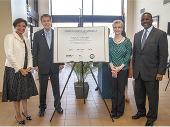 (L to R): FTA Acting Administrator Carolyn Flowers; U.S. Sen. Sherrod Brown; Greater Linden Development Corp. Executive Director Donna Hicho; and COTA President/CEO W. Curtis Stitt.