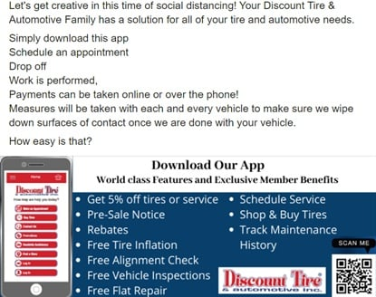 Associated Tire Stores' app lets customers shop for tires, schedule appointments and pay for service. The dealership is promoting the app more than ever.