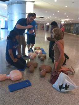 Through five sessions held at two SEPTA train stations in August and September, almost 200 people were trained in the basic skills that could help them save someone suffering from cardiac arrest. Photo: SEPTA