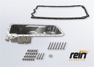 The new Rein Automotive Oil Pan Kit (P/N ESK0172) comes complete with oil pan, gasket, drain plug, and aluminum torque-to-yield bolts, along with the torque specs.