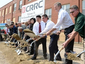 Governor Charlie Baker and Secretary Stephanie Pollack join local and CRRC officials for the rail car manufacturing facility groundbreaking in Springfield. Photo: CRRC