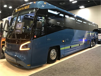 MCI's all new high-capacity MCI D45 CRT LE commuter coach is designed to make boarding easier and faster for all passengers, especially those using mobility devices. Photo: METRO Magazine