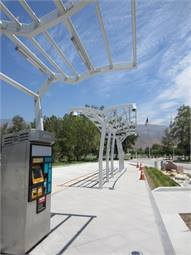 A photo of the sbX bus rapid transit line station platform under construction on the CSUSB campus.
