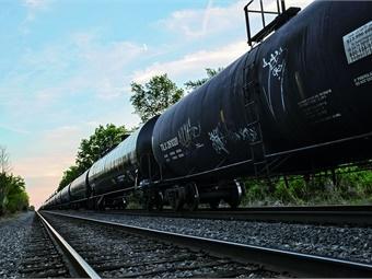 A busy CSX freight line through Manville, N.J. Photo: © Allison Thomas/Rutgers CAIT