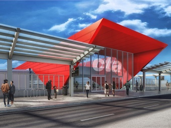North terminal view in daylight - conceptual artist's rendering