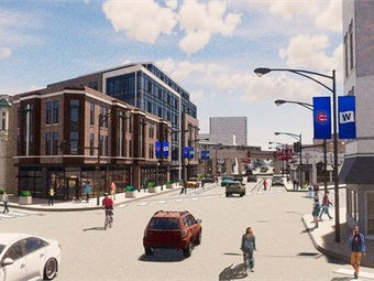 Conceptual rendering of the Chicago Transit Authority's new Red-Purple Bypass and area redevelopment at the intersection of Clark/Newport (looking south from intersection). Image: CTA