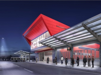 South terminal view at night - conceptual artist's rendering