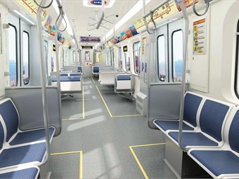 A conceptual rendering of the interior of the CTA's future railcars.