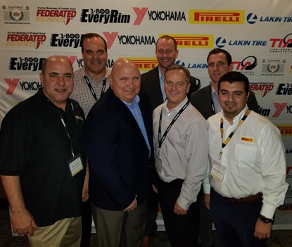 The attendees of the 2018 luncheon included, from left, Host Billy Eordekian; Matt Burrows from Yokohama; Tom Formanek, Stellar Industries and TIA; Ryan Crawford from Federated Insurance; Chris Barry from ITDG, Gregory Parker from Wegmann; and Sevada Meckailian from Pirelli.