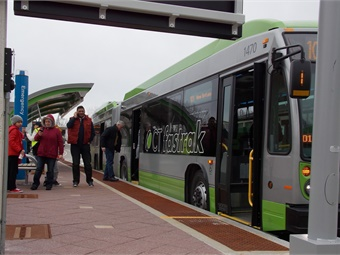 Passengers at CTfastrak station. Photo: Connecticut Transit