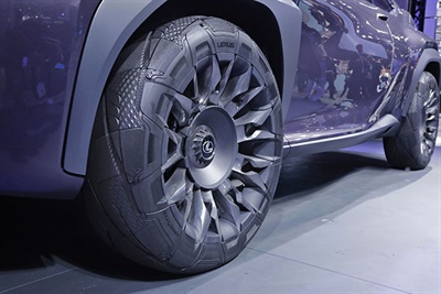 "Goodyear says the tread pattern of its tire and wheel fusion concept on the Lexus UX crossover concept vehicle ""gives the tire a dynamic appearance."""