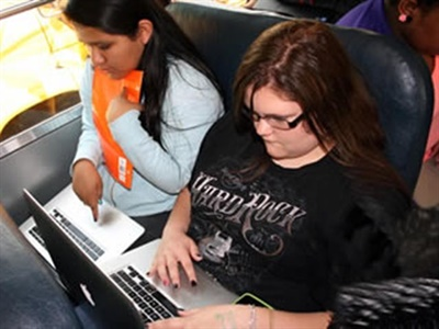 """Google is expanding its """"Rolling Study Halls"""" initiative to 16 additional school districts this year. Photo courtesy Caldwell County (N.C.) Schools"""