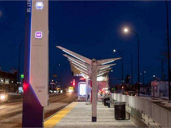 "Stantec worked with GEC Architecture to design stations using a ""kit of parts"" approach, allowing the same components to be used on a variety of scales of stations across the City's BRT system. The MAX Purple stations include heated shelters, real-time information, security and future allowances for off board fare payment. Photo: Jaime Vedres"