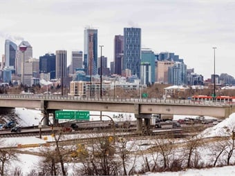 The new transitway bridge over Deerfoot Trail has been designed to allow for potential future conversion to LRT (looking west towards downtown Calgary). Photo: Jaime Vedres