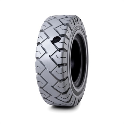 The round anti-static plug is visible on this picture of the Camso RES Xtreme non-marking, anti-static tire for forklifts.