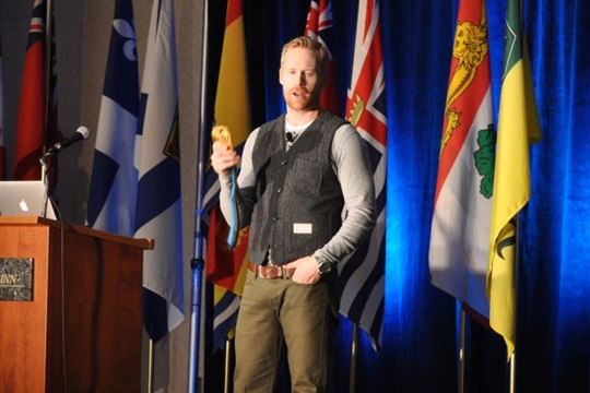 """The opening keynote speaker was Jon Montgomery, an Olympic gold medal-winning skeleton racer and host of """"The Amazing Race Canada."""""""
