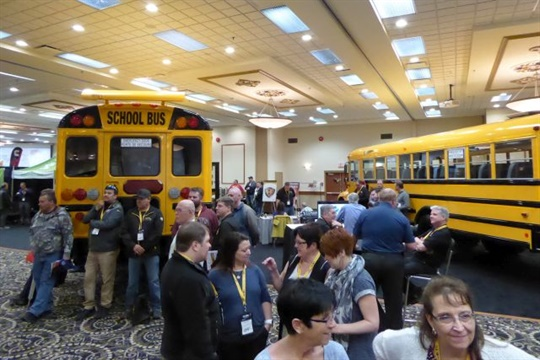 About 45 vendor companies displayed school buses and other pupil transportation products in the trade show.