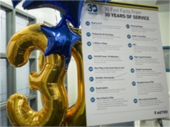 "Festive decor greeted guests, many wearing t-shirts bearing the ""30 Forward"" theme, as they assembled in the board room."