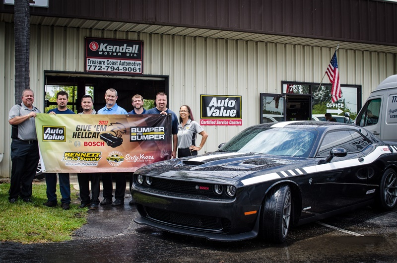 Andrew Langello won the grand prize, a Dodge Hellcat Challenger, in a sweepstakes sponsored by the Alliance and Bosch. Pictured are (from left): Scott Bennett, Bennett Auto Supply; AndrewLangello, Treasure Coast Automotive; Tyler Reeves, Bennett Auto Supply; Brian Gammage, Bosch; Kevin Arnoux, Bosch; Steve Snarbono, TreasureCoast Automotive; and Gigi Lugar, Bennett Auto Supply.