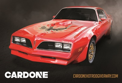 "Cardone says its muscle car contest is a nod to ""Smokey and the Bandit"" with a 1977 Trans Am Firebird on the line."