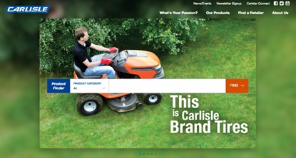 """The Carlisle website features a """"What's your passion?"""" section to help guide replacement tire shoppers."""