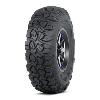 The ITP brand Ultra Cross R Spec tire features a wider, flatter profile for better traction.