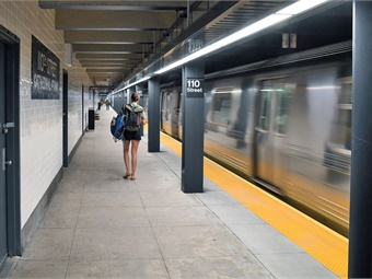 How New York City Transit's reimagined Cathedral Pkwy (110 St) station looks following five months of repair and renovation work. Photo: Marc A. Hermann / MTA New York City Transit