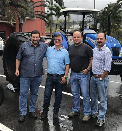 Ceat has found a distribution partner in Costa Rica: Trac-Taco. From left, Miguel Yamuni and Mario Madriz from Trac-Taco, Alan Thomas, general manager of Centro Llantero Los Guarapos, and Tarang Srivastava, general manater of North America for Ceat.
