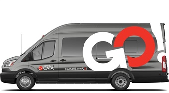The Centre Area Transportation Authority (CATA) of State College, Pa., has partnered with TransLoc on a microtransit pilot program (vehicle rendering shown).CATA