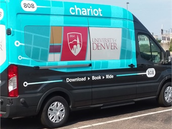 The University of Denver is the first in Colorado to pilot a new service provided by Chariot shuttles. Photo: University of Denver