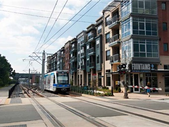 The Charlotte Area Transit System's (CATS) LYNX Blue Line is the region's first light rail service spurring development since it opened in 2007. Photo: CATS