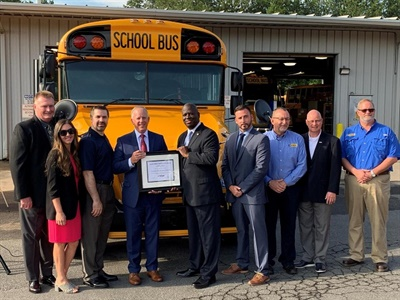 Charlotte-Mecklenburg Schools has added a total of 28 new Blue Bird Vision propane school buses to its fleet for the 2019-20 school year. Photo courtesyCharlotte-Mecklenburg Schools