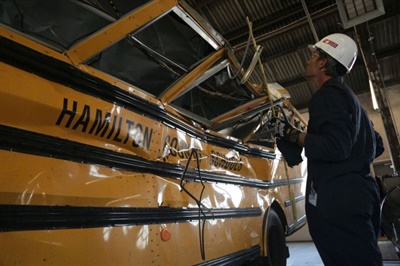 NTSB said that its investigation of the Chattanooga school bus crash found shortcomings in driver oversight, among other issues. Photo courtesy NTSB