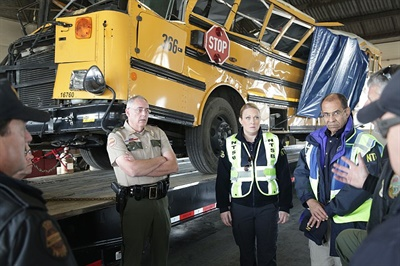 Bills targeting school bus safety were likely spurred by recent high-profile school bus crashes, such as the one in Chattanooga, Tennessee. National Transportation Safety Board photo by Nicholas Worrell