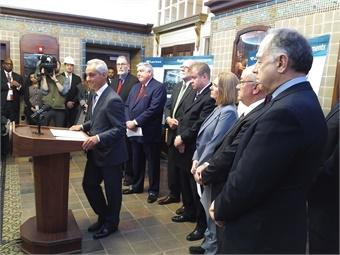 Chicago Mayor Rahm Emanuel speaking at the Union Station media event. Photo: Amtrak