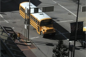 In Ohio, the annual school bus crash rate has dropped about 25 percent over the past 11 years. Pictured is a bus on the streets of Cincinnati.