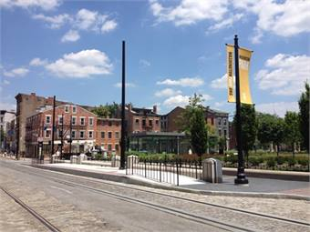 July 11, 2014 - Track along Elm, Central Parkway, and most of Race and 12th Streets is complete, as well as five streetcar station stops, including this one at 14th and Race Streets. Courtesy City of Cincinnati