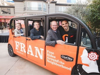 The City of Anaheim, California and Anaheim Resort Transportation have launched  a unique app-based, microtransit system using electric vehicles.  Photo: City of Anaheim