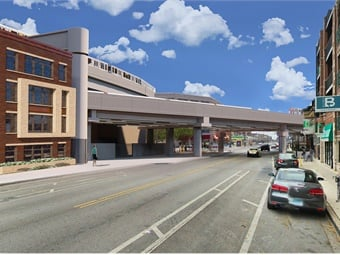 A rendering of Clark Street after construction.Purple Group