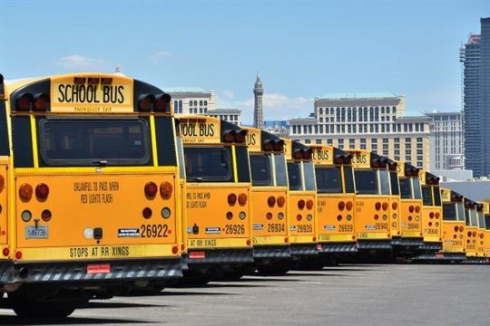 Nevada's requirement for lap-shoulder belts on new school buses goes into effect in July 2019. Seen here are Clark County School District buses in Las Vegas.