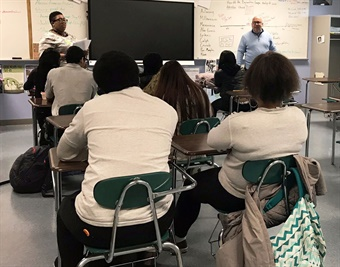 Jennifer Thompkins, Assistant Director of Youth Programs for TriZen, LLC and SEPTA's Dan Amspacher presenting to Samuel Fels High School students in the classroom. Photo: SEPTA