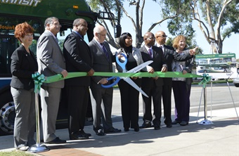 Torrance Transit launched its Line 4X Express service with a ribbon-cutting ceremony at Torrance City Hall. Photo by Clayton Wong