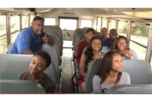 "Houston Independent School District's ""School Bus Shuffle"" video covers such safety topics as using the handrail when boarding the school bus, keeping one's feet out of the aisle and reporting instances of bullying to the bus driver."