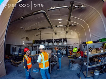 Co-founder and President of Engineering, Josh Giegel, and the team fire up our vacuum pump for the first time. Photo: Hyperloop One